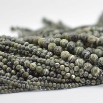 "High Quality Grade A Natural Green Zebra Jasper Semi-precious Gemstone Round Beads - 4mm, 6mm, 8mm, 10mm sizes - 15.5"" strand"
