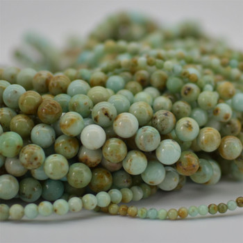"High Quality Grade A Natural Marine Blue Jasper Semi-precious Gemstone Round Beads - 6mm, 8mm, 10mm sizes - 15.5"" strand"