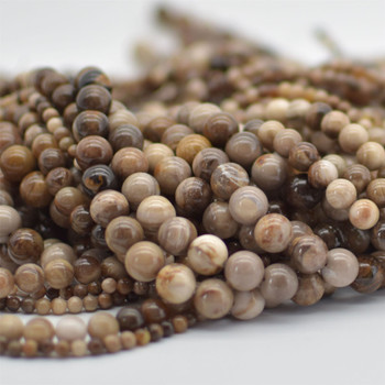 """High Quality Grade A Natural Wood Opalite Semi-precious Gemstone Round Beads - 4mm, 8mm, 10mm sizes - Approx 15.5"""" strand"""