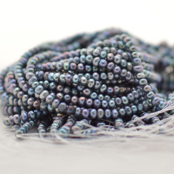 """High Quality Grade A Natural Freshwater Pearl Potato Beads - Rainbow Grey - approx 4mm - 4.5mm - 14.5"""" long"""
