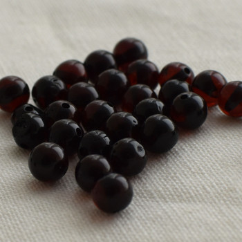 Natural Baltic Amber Round Beads - 50 loose Amber Beads - 4mm - 5mm - Cherry Colour