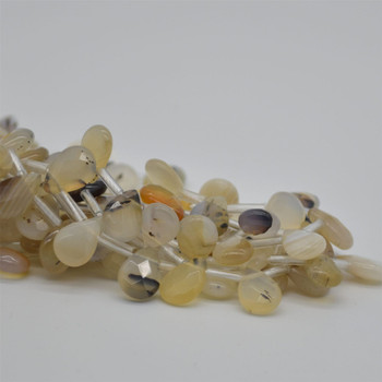 10 High Quality Grade A Natural Montana Agate Semi Precious Gemstone FACETED Teardrop / Pendant Beads - 12mm x 8mm