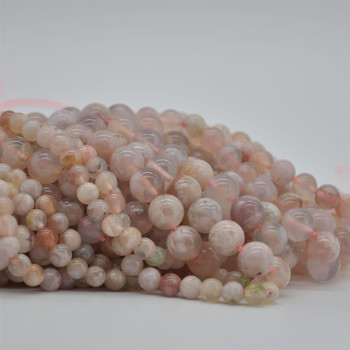 """High Quality Grade A Natural Cherry Blossom Pink Agate Semi-precious Gemstone Round Beads - 6mm, 8mm, 10mm sizes - 15.5"""" strand"""