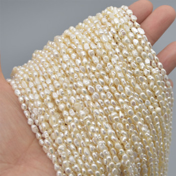 """High Quality Grade A Natural Freshwater Baroque Seed Nugget Keshi Pearl Beads - White - approx 3mm - 4mm - approx 14"""" long"""