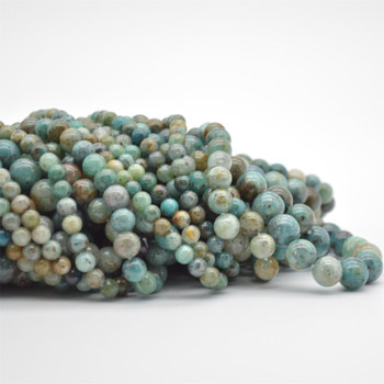 "High Quality Grade A Natural Chrysocolla in Quartz Semi-Precious Gemstone Round Beads - 6mm, 8mm, 10mm sizes - 15.5"" long"