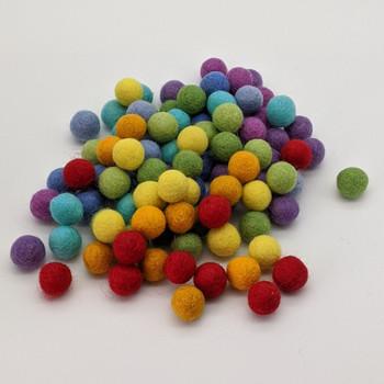 100% Wool Felt Balls - 100 Count - 2cm - Rainbow Colours - Set01 - Limited edition