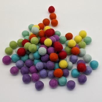 100% Wool Felt Balls - 100 Count - 2cm - Rainbow Colours - Set02 - Limited edition