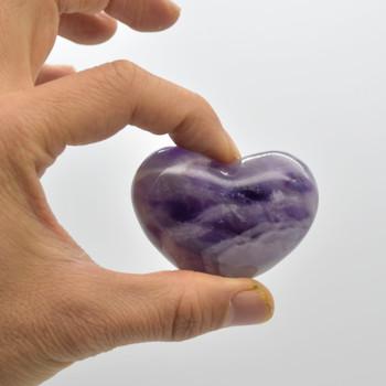 High Quality Natural Banded Amethyst Heart Semi-precious Gemstone Heart - 1 Gemstone Heart - 83 grams - #7