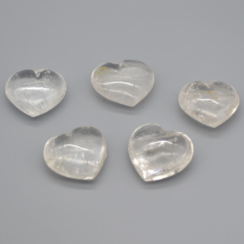 High Quality Natural Clear Quartz Semi-precious Gemstone Heart - 1 Gemstone Heart - 70g - 80g - approx 5.5cm x 4.5cm