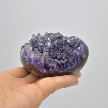 Raw Natural Amethyst Cluster Semi-precious Gemstone Heart - 1 Gemstone Heart - 7.5 x 5.5 x 4cm