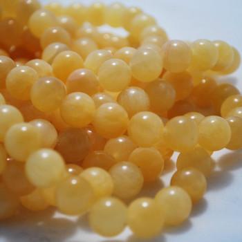 High Quality Yellow / Orange (dyed) Jade Semi-Precious Gemstone Round Beads - 4mm, 6mm, 8mm, 10mm
