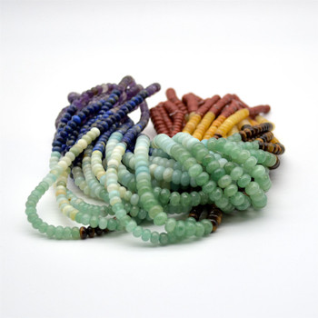 "High Quality Grade A Natural 7 Chakra Semi-Precious Gemstone Rondelle Beads - 6mm x 4mm, 8mm x 5mm - 15"" long"