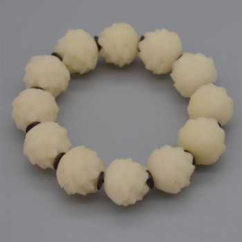 Natural Ivory White Bodhi Root Carved Lotus Flower Beads - 12 beads - Mala Prayer Beads - 20mm