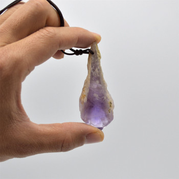 Raw Natural Elestial Amethyst Semi-precious Gemstone Point / Wand Pendant - Approx 6cm - 7.5cm - 1 Count