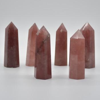 Natural Strawberry Quartz  Semi-precious Gemstone Point / Tower / Wand  - 1 Count - approx 8cm-8.5cm-x 2cm - 2.5cm #2