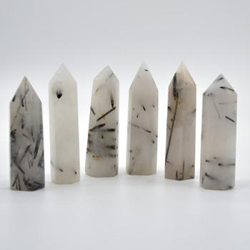 Natural Tourmalinated Quartz  Semi-precious Gemstone Point / Tower / Wand  - 1 Count - approx 8cm-9cm-x 2cm x 2.5cm #1