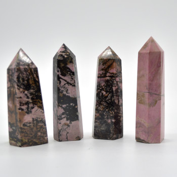 Natural Rhodonite Semi-precious Gemstone Point / Tower / Wand - 1 Count - approx 8cm - 9.5cm  x 2.5cm #2