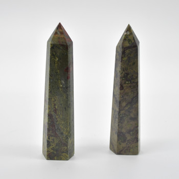 Natural Dragon Blood Jasper Semi-precious Gemstone Point / Tower / Wand - 1 Count - approx 12cm - 12.5cm  x 5cm - 5.5cm #1