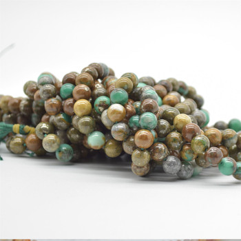 "High Quality Grade A Natural Green Azurite Semi-precious Gemstone Round Beads -8mm size - 15.5"" strand"