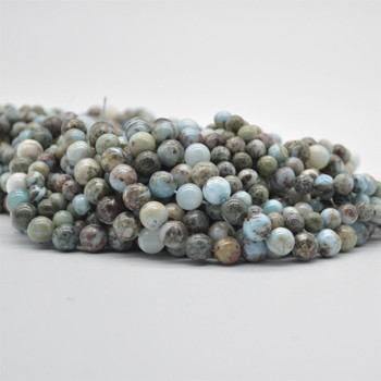 "High Quality Natural Grade B Larimar Semi-Precious Gemstone Round Beads - 6mm, 8mm sizes - 15.5"" long"