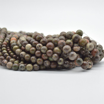 """High Quality Grade A Natural Rainforest Agate Semi-Precious Gemstone Round Beads - 4mm, 6mm, 8mm, 10mm sizes - 15.5"""" long"""