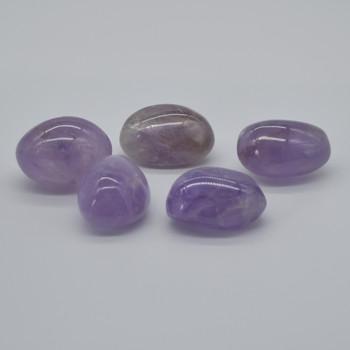 Natural Amethyst Semi-precious Gemstone Palm Stone Tumbled Stone - 1 Count  - 65-75 grams