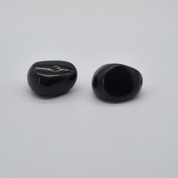 Natural Black Obsidian Semi-precious Gemstone Palm Stone Tumbled Stone - 1 Count - 85 - 95 grams #05