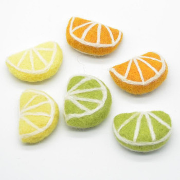 Handmade Wool Felt Citrus Fruits Slices - 6 Count - Lemon, Lime and Orange - approx 5cm x 3.5cm x 1.4cm
