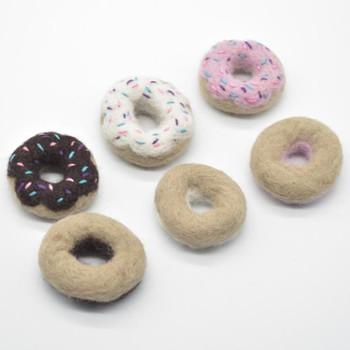 Handmade Wool Felt Doughnut with Sprinkles - 3 Count - approx 5cm - 6cm