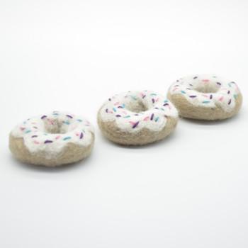 Handmade Wool Felt Doughnut with Sprinkles - 3 White Iced Doughnut - approx 5cm - 6cm
