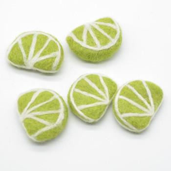 Handmade Wool Felt Citrus Fruits Slices - 5 Lime Slices - approx 5cm x 3.5cm x 1.4cm
