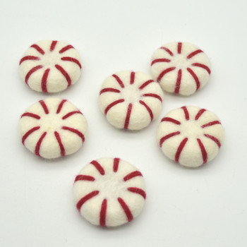 Handmade Wool Felt Peppermint Candy / Taffy Sweets - 10 Count - approx 3.5cm x 1.4cm