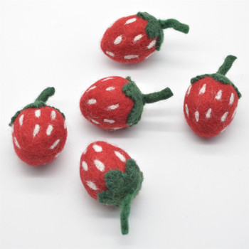 Handmade Wool Felt Strawberry - 5 Count - approx 6.5cm x  3.5cm