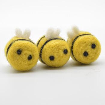 Handmade Wool Felt Bumble Bee - Mustard Yellow - 4 Count - approx 3.5cm - 4cm x  2.7cm - 3cm