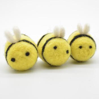 Handmade Wool Felt Bumble Bee - Yellow - 4 Count - approx 3.5cm - 4cm x  2.7cm - 3cm