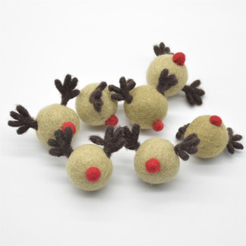 Handmade Wool Felt Red Nosed Reindeer - 5 Count - approx 3.5cm