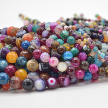 High Quality Grade A Mixed Colour Banded Agate Semi-precious Gemstone Round Beads 4mm, 6mm, 8mm, 10mm
