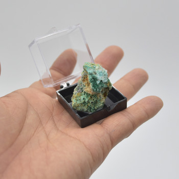 Raw Natural Chrysocolla Semi-precious Gemstone Mini Specimen Sample with display box - approx 5 - 15 grams per sample