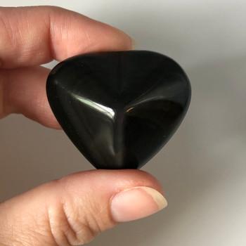 High Quality Natural Rainbow Obsidian Semi-precious Gemstone Heart - 1 Gemstone Heart - 25g - 40g - approx 4cm x 3cm #02