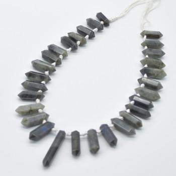 "High Quality Grade A Natural Labradorite Semi-Precious Gemstone Double Terminated Points Beads / Pendants - 14"" strand"