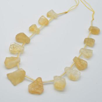 "High Quality Grade A Hand Polished Natural Raw Citrine Semi-precious Gemstone Teardrop Nugget Beads - approx 15.5"" long strand"