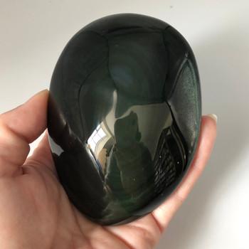 Natural Rainbow Obsidian Semi-precious Gemstone Palm Stone -  Beautiful iridescent rainbow hue - 1 Count - 244 grams #2D