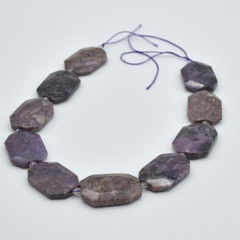 """High Quality Grade A Natural Charoite Semi-precious Gemstone Faceted Large Rectangle Pendant / Beads - approx 15.5"""" strand"""