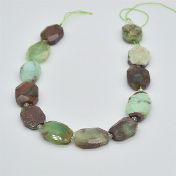 """High Quality Grade A Natural Green Chrysoprase Semi-precious Gemstone Faceted Large Rectangle Pendant / Beads - approx 15.5"""" strand"""