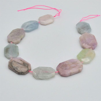 "High Quality Grade A Natural Kunzite & Aquamarine Semi-precious Gemstone Faceted Large Rectangle Pendant / Beads - approx 15.5"" strand"