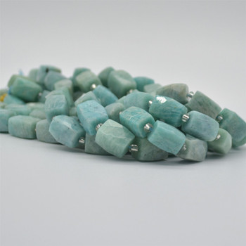 "High Quality Grade A Natural Amazonite Faceted Cuboid Barrel Semi-precious Gemstone Beads - approx 15mm x 10mm - 15"" long strand"