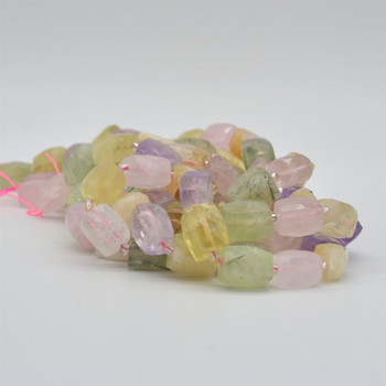"High Quality Grade A Natural Mixed Stones Faceted Cuboid Barrel Semi-precious Gemstone Beads - approx 15mm x 10mm - 15"" long strand"