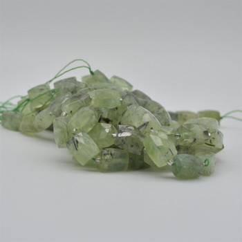 "High Quality Grade A Natural Prehnite Faceted Cuboid Barrel Semi-precious Gemstone Beads - approx 15mm x 10mm - 15"" long strand"