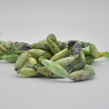 """High Quality Grade A Natural Chinese Chrysoprase Faceted Rice Semi-precious Gemstone Beads - approx 30mm x 10mm - 15"""" long strand"""