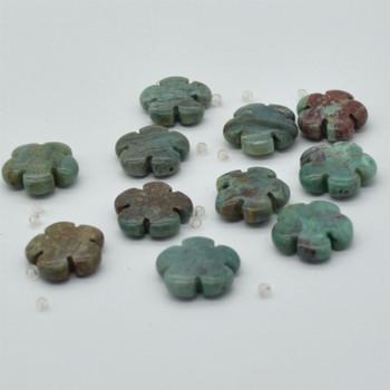 "High Quality Grade A Natural Australian Bloodstone Semi-precious Gemstone Flower Shaped Beads - approx 15.5"" - 16"" strand"